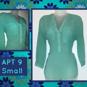 Apt 9 Turquoise Green Blouse small